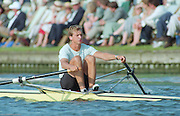 Henley. United Kingdom.   EST M1X, Jueri JAANSON, competing in the Diamond Sculls Challenge and the FISA World Cup event. Men and Women's single Sculls at the 1995 Henley Royal Regatta. Henley Reach, England.<br /> <br /> {Mandatory Credit: Peter SPURRIER/Intersport Images]
