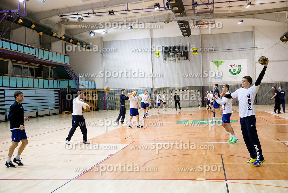 Jure Dolenec (R) during the Training Camp before IHF Men's Handball World Championship Spain 2013 on January 9, 2013 in Zrece, Slovenia. (Photo By Vid Ponikvar / Sportida.com)