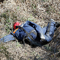 Thomas Wells | BUY at PHOTOS.DJOURNAL.COM<br /> A simulated body lies at the bottom of cliff and waits to be retrieved during Tuesday training at the Tupelo Fire Academy.
