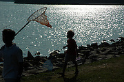 Some children seen with their butterfly nets at the Reservoir on a weekend, Singapore