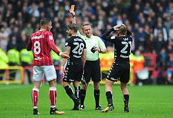 Gaetano Berardi of Leeds United receives a red card - Mandatory by-line: Dougie Allward/JMP - 21/10/2017 - FOOTBALL - Ashton Gate Stadium - Bristol, England - Bristol City v Leeds United - Sky Bet Championship