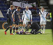Dundee keeper Scott Bain gets treatment - Ross County v Dundee, Ladbrokes Premiership at Victoria Park<br /> <br />  - &copy; David Young - www.davidyoungphoto.co.uk - email: davidyoungphoto@gmail.com