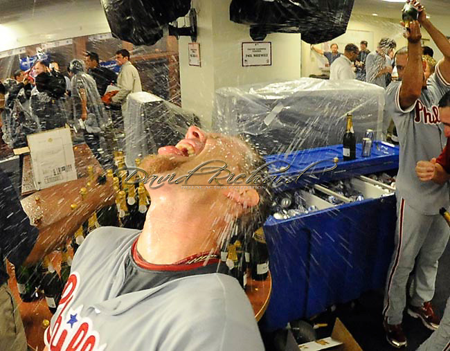 Geoff Jenkins puts his head back to soak up the fun.