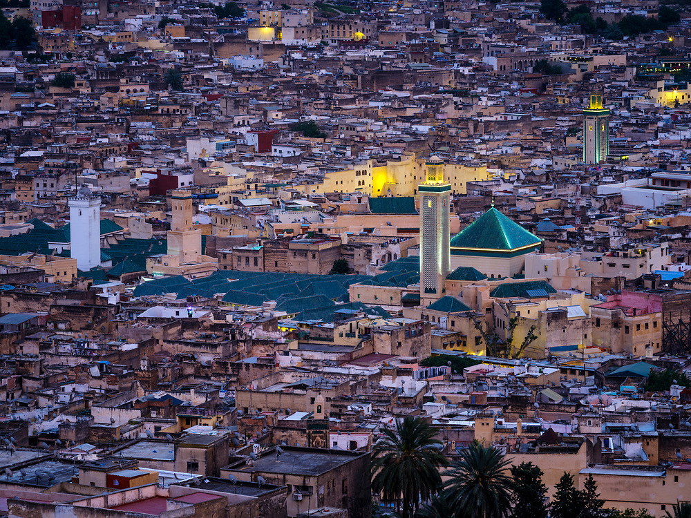 FEZ, MOROCCO - CIRCA APRIL 2017:  Aerial view of the Medina in Fez during blue hour