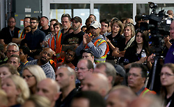 June 13, 2017 - Orion Township, MI, USA - Orion Assembly Plant workers listen to GM Chairwoman and CEO Mary Barra talk about the Chevrolet Bolt EV test vehicles that are being built at the plant Tuesday, June 13, 2017 in Orion Township, Mich. (Credit Image: © Eric Seals/TNS via ZUMA Wire)