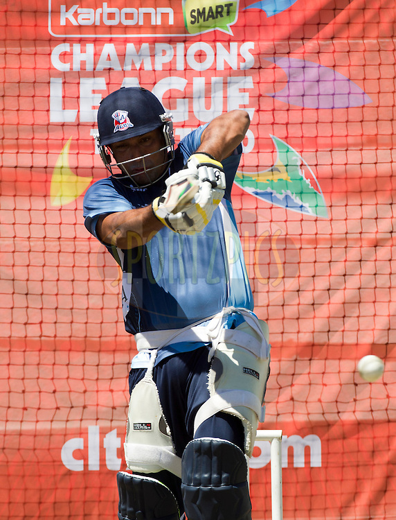 Azhar Mahmood plays a shot in the nets during the Auckland Aces practice session held a Kingsmead Stadium in Durban on the 18th October 2012..Photo by Rogan Ward/SPORTZPICS/CLT20