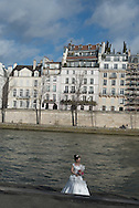 France. Paris. 5th district.  left bank, Quai de la Tournelle and Seine river,/ quai de la Tournelle Paris