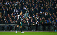 UEFA Champions League Tottenham v Real Madrid, 1st November. Spurs fans taunt Cristiano Ronaldo of Real Madrid during the UEFA Champions League match between Tottenham Hotspur and Real Madrid at Wembley Stadium in London. 01 Nov 2017.<br /> Telephoto Images / Alamy Live News