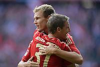 FUSSBALL   1. BUNDESLIGA  SAISON 2012/2013   3. Spieltag FC Bayern Muenchen - FSV Mainz 05     15.09.2012 Holger Badstuber und Bastian Schweinsteiger (v. li., FC Bayern Muenchen)