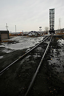 Deserted railroad tracks in Cleveland, OH. USA
