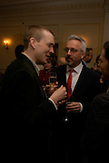 David Mitchell and Booker prizewinner Alan Hollinghurst. South Bank Show Awards, The Savoy Hotel. London. 27 January 2005. ONE TIME USE ONLY - DO NOT ARCHIVE  © Copyright Photograph by Dafydd Jones 66 Stockwell Park Rd. London SW9 0DA Tel 020 7733 0108 www.dafjones.com