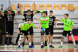 Jaka Jakse of MRK Krka, David Didovic of MRK Krka and Kukman Tilen of MRK Krka during handball match between RK Gorenje Velenje and MRK Krka in Final of Slovenian Men Handball Cup 2018/19, on Maj 12, 2019 in Novo Mesto, Slovenia. Photo by Grega Valancic / Sportida