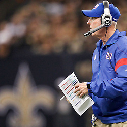 November 28, 2011; New Orleans, LA, USA; New York Giants head coach Tom Coughlin against the New Orleans Saints during the first quarter of a game at the Mercedes-Benz Superdome. Mandatory Credit: Derick E. Hingle-US PRESSWIRE