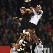 Adam Thomson challenges Dominiko Waqaniburotu in a line out  during the New Zealand V Fiji Rugby Union test match at Carisbrook, Dunedin. New Zealand. 22nd July 2011. Photo Tim Clayton