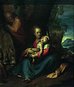 Perhaps by Giovanni Battista Crespi II Cerano (about 1575/76-1632) The Rest on the Flight into Egypt, oil on copper.  In a colourful landscape setting, Mary nurses the child Jesus.  The Holy Family fled to Egypt to escape Herod's command that all new-born boys should be killed.  Painted on copper around 1600.