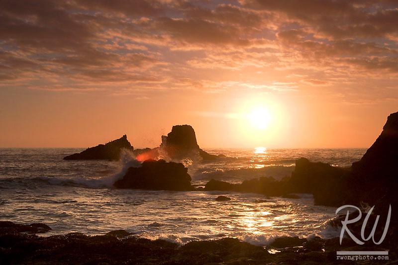 Seal Rocks at Sunset, Laguna Beach, California