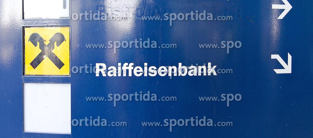 THEMENNBILD, Wien, Österreich, Die Raiffeisenbank ist eine der groeßten österreichischen Banken. im Bild das Logo sowie der Name der Raiffeisenbank mit einem Pfeil nach unten. //THEME IMAGE, FEATURE, The Raiffeisenbank is on of the biggest banks in Austria. picture shows the logo of the Raiffeisenbank with a down arrow, Vienna, Austria on 2012/09/11 EXPA Pictures © 2012, PhotoCredit: EXPA/ Sebastian Pucher