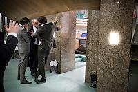 Nederland. Den Haag, 27 oktober 2010.<br /> De Tweede Kamer debatteert over de regeringsverklaring van het kabinet Rutte.<br /> Job Cohen, Jeroen Dijsselbloem en Martijn van Dam tijdens schorsing in overleg., partij van de arbeid, PvdA, oppositie<br /> Kabinet Rutte, regeringsverklaring, tweede kamer, politiek, democratie. regeerakkoord, gedoogsteun, minderheidskabinet, eerste kabinet Rutte, Rutte1, Rutte I, debat, parlement<br /> Foto Martijn Beekman