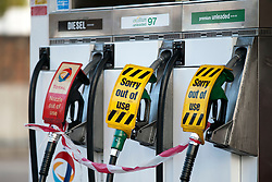 © Licensed to London News Pictures. 03/04/2012. London, UK. An empty forecourt at a Total petrol station in Kensal Rise, North West London which has run out of petrol and diesel and is still waiting to be filled on April 3, 2012. Shortages started at U.K. fuel stations as car owners filled up their tanks to guard against a possible strike by fuel-truck drivers. Photo credit : Ben Cawthra/LNP