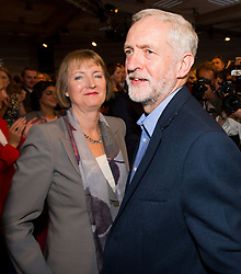 © Licensed to London News Pictures. 12/09/2015. London, UK. JEREMY CORBYN walking past HARRIET HARMAN following the announcement of the new leader of the Labour Party at the QEII centre in Westminster, London on September 12, 2015. Former leader ED Miliband resigned after a heavy defeat at the last election. Photo credit: Ben Cawthra/LNP