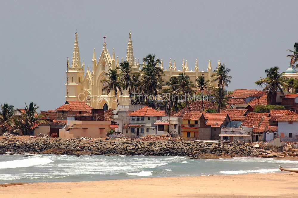 Church and village by the sea, near Kanyakumari.