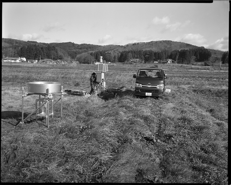 Testing equipment being set up to monitor ground water contamination and flow of radioactive contamnation Fukushima  Contaminated Evacuation Zome /IItate
