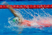 Ashgabat, Turkmenistan - 2017 September 24: Enes Begmyradowa from Turkmenistan competes in Women's 100m Backstroke Heat 2 while Short Course Swimming competition during 2017 Ashgabat 5th Asian Indoor &amp; Martial Arts Games at Aquatics Centre (AQC) at Ashgabat Olympic Complex on September 24, 2017 in Ashgabat, Turkmenistan.<br /> <br /> Photo by &copy; Adam Nurkiewicz / Laurel Photo Services