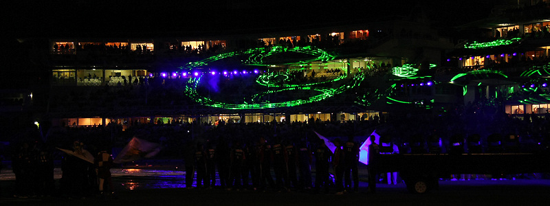 CAPE TOWN, SOUTH AFRICA - 18 April 2009. The Lazer Show during the opening ceremony of the DLF IPL (Indian premier League)  season two (which is being held in South Africa between the 18th April and the 24th May 2009) held at Sahara Park Newlands in Cape Town, South Africa..