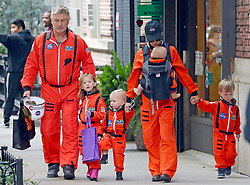 EXCLUSIVE: Alec and Hilaria Baldwin dress up with the kids as NASA Astronauts for Halloween, NYC. **SPECIAL INSTRUCTIONS*** Please pixelate children's faces before publication.**. 31 Oct 2018 Pictured: Alec Baldwin, Hilaria Baldwin, Carmen Gabriela Baldwin, Rafael Thomas Baldwin, Leonardo Ángel Charles Baldwin and Romeo Alejandro David Baldwin. Photo credit: MEGA TheMegaAgency.com +1 888 505 6342