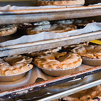 Freshly baked pies on baking sheets at the Blue Raeven Farmstand in the heart of Oregon's wine country in the town of Amity.