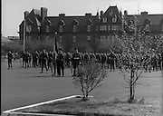 1983-04-12.12th April 1983.12-04-1983.04-12-83..Photographed at McKee Barracks, Cork..At Ease on Parade..Troops stand easy during review proceedings..