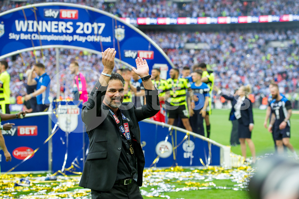 David Wagner manager of Huddersfield Town celebrates the promotion into the Premier League during the EFL Sky Bet Championship Play-Off Final match between Huddersfield Town and Reading at Wembley Stadium, London, England on 29 May 2017. Photo by Salvio Calabrese.