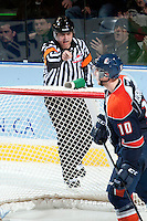 KELOWNA, CANADA -FEBRUARY 1: Reagan Vetter, referee, calls a goal for the Kelowna Rockets against the Kamloops Blazers on February 1, 2014 at Prospera Place in Kelowna, British Columbia, Canada.   (Photo by Marissa Baecker/Getty Images)  *** Local Caption *** Reagan Vetter; referee; official