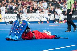 A dejected James Bailey of Wimbledon after the shoot out. Wimbledon v Surbiton - Men's Hockey League Final, Lee Valley Hockey & Tennis Centre, London, UK on 23 April 2017. Photo: Simon Parker