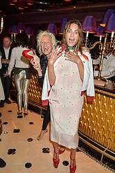Left to right, ELLEN VON UNWERTH and YASMIN LE BON at a party to celebrate Pam Hogg receiving an honorary Doctorate from Glasgow University held at Park Chinois, 17 Berkeley Street, London on 11th July 2016.