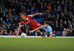 Bobby Reid of Bristol City goes down to a John Stones of Manchester City challenge in the area to win a penalty  - Mandatory by-line: Matt McNulty/JMP - 09/01/2018 - FOOTBALL - Etihad Stadium - Manchester, England - Manchester City v Bristol City - Carabao Cup Semi-Final First Leg