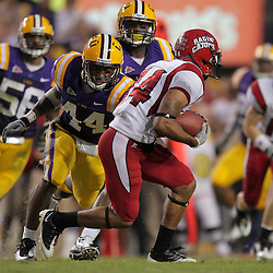 19 September 2009: LSU Tigers safety Danny McCray (44) chases Louisiana-Lafayette Cajuns FB Geoffrey McCullough (34) during 31-3 win by the LSU Tigers over the University of Louisiana Lafayette Ragin' Cajuns at Tiger Stadium in Baton Rouge, Louisiana.