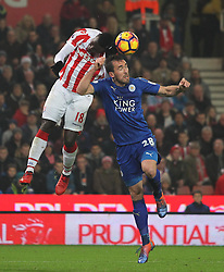 Mame Biram Diouf of Stoke City (L) and Christian Fuchs of Leicester City in action - Mandatory by-line: Jack Phillips/JMP - 17/12/2016 - FOOTBALL - Bet365 Stadium - Stoke-on-Trent, England - Stoke City v Leicester City - Premier League