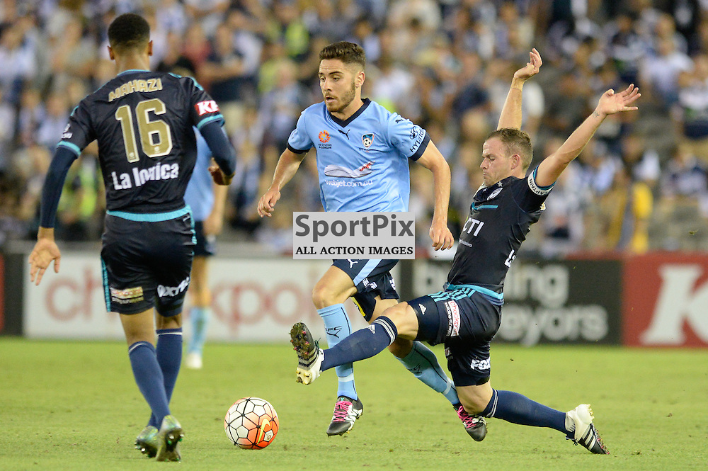 Rashid Mahazi of Melbourne Victory, Christopher Naumoff of Sydney FC, Leigh Broxham of Melbourne Victory, Hyundai A-League (Australia Day) - January 26th 2016 - RD16 - Melbourne Victory FC v Sydney FC at Etihad Stadium, Docklands, Melbourne, Australia in a 1:0 win to Victory - © Mark Avellino | SportPix.org.uk