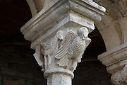 Stone sculpted bird creatures on the capital of a column on the exonarthex of the Church of St Mary, 13th century, in the Ardenica Monastery, an Eastern Orthodox monastery near Apollonia, Fier, Albania. 8 of these capitals all display various monsters and fantastic creatures. The church is of Byzantine-orthodox architecture but with many Romanesque features, and contains frescoes by Kostandin and Athanas Zografi which date to 1744. The monastery was founded in 1282 by Andronikos II Palaiologos and is dedicated to the Byzantine victory over the Angevins in Berat during the Siege of Berat of 1280ñ81. Picture by Manuel Cohen