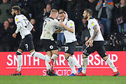 Celebrations as Derby County forward Mason Bennett scores a goal during the EFL Sky Bet Championship match between Derby County and Wigan Athletic at the Pride Park, Derby, England on 5 March 2019.