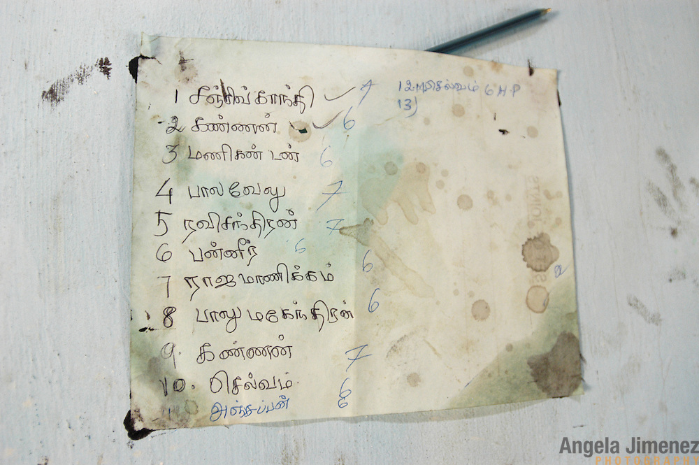 A list of fishermen waiting to have their flooded engines repaired hangs on the wall of a workshop set up by villagers and a volunteer from AID India in Perumalpettai, in Tamil Nadu, India, on January 20, 2005, after the area was struck by the Indian Ocean Tsunami on December 26, 2004, killing 37 villagers and destroying nearly all of their fishing boats. Generated by an earthquake on the ocean floor, the tsunami devastated the fishing industry along the southeastern coast of India.