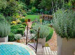 Raised decking seating area with tall ceramic containers of lavender - Lavandula dentata. Mosaic circular table with iron chair. Gravel path with lawn beyond. Design: Anthony Gough