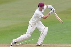 Durham MCCU's Will Jenkins cuts the ball - Photo mandatory by-line: Harry Trump/JMP - Mobile: 07966 386802 - 04/04/15 - SPORT - CRICKET - Pre Season - Day 3 - Somerset v Durham MCCU - Taunton Vale, Somerset, England.