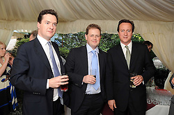 Left to right, GEORGE OSBORNE MP, MATTHEW d'ANCONA editor of The Spectator and DAVID CAMERON MP  at the Spectator Summer Party held at 22 Old Queen Street, London SW1 on 3rd July 2008.<br />