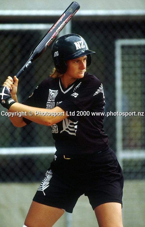 Lisa Kersten from the NZ Womens Softball team, batting, during a match against Japan, 2000. Photo: PHOTOSPORT