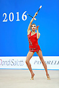 Mazur Viktoria of Ukrain competes during the Rhythmic Gymnastics Women's Individual clubs Qualification of World Cup of Pesaro on April 2, 2016. Viktoria is ritired gymnast born in Luhansk  Ukraine in 1994.