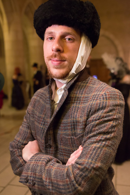 man costumed as Vincent van Gogh, with bandaged ear.