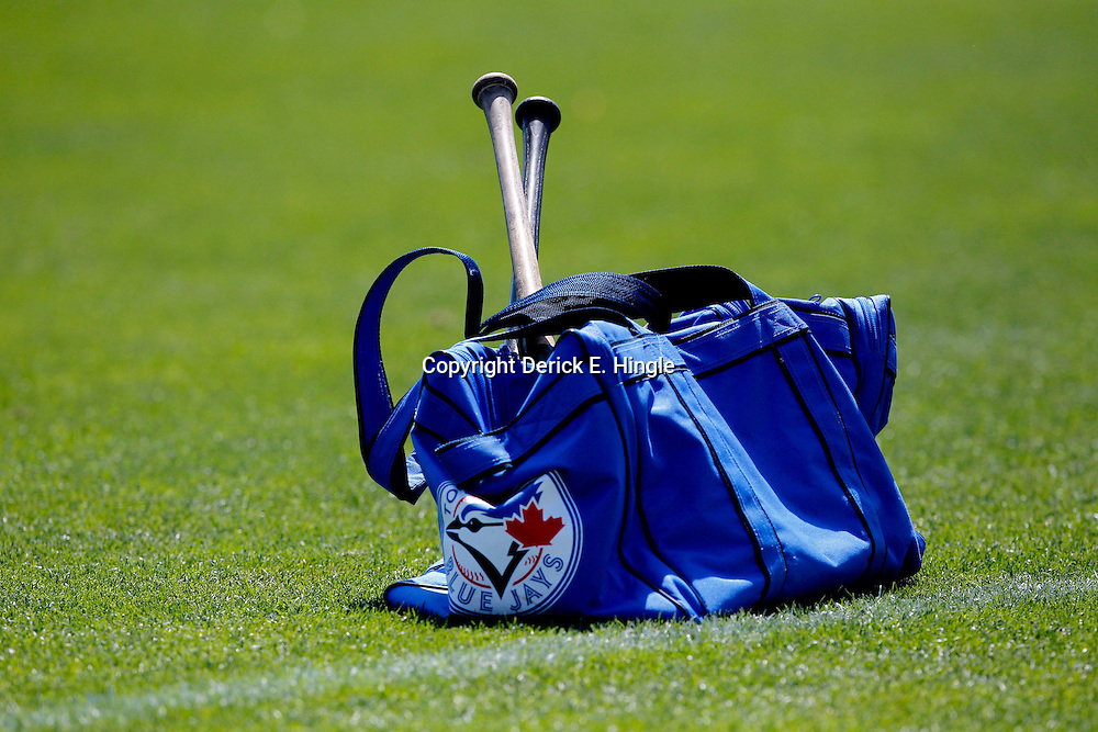 March 12, 2012; Dunedin, FL, USA; A Toronto Blue Jays bag on the field before a spring training game against the Baltimore Orioles at Florida Auto Exchange Stadium. Mandatory Credit: Derick E. Hingle-US PRESSWIRE