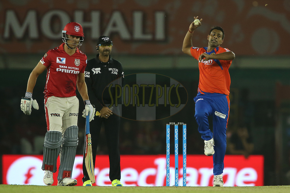 Praveen Kumar of Gujarat Lions sends down a delivery during match 3 of the Vivo Indian Premier League (IPL) 2016 between the Kings XI Punjab and the Gujarat Lions held at the IS Bindra Stadium, Mohali, India on the 11th April 2016<br /> <br /> Photo by Shaun Roy/ IPL/ SPORTZPICS